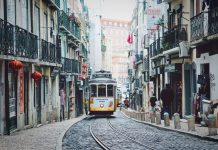 Tram in Lisbon's Baixa.