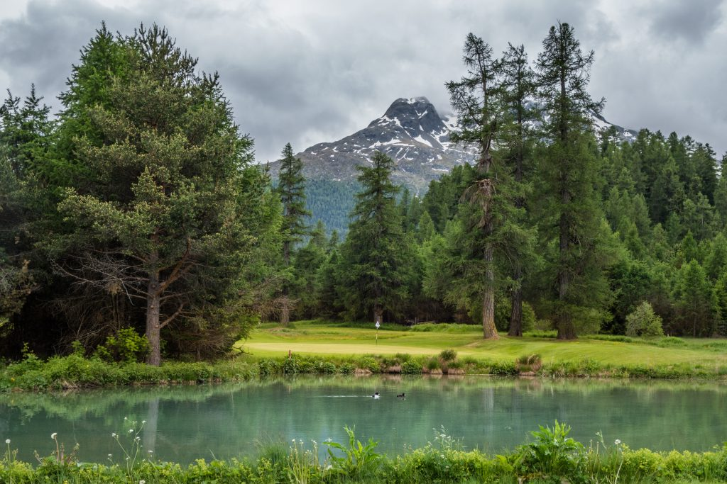 Samedan golf course in the Swiss Alps - the 6th green