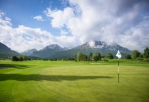Swiss Alps golf - Engadine's Samedan course, 9th green